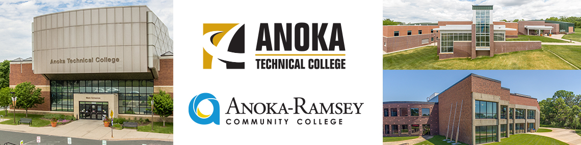 Image of a keyboard with Anoka Ramsey school logos superimposed