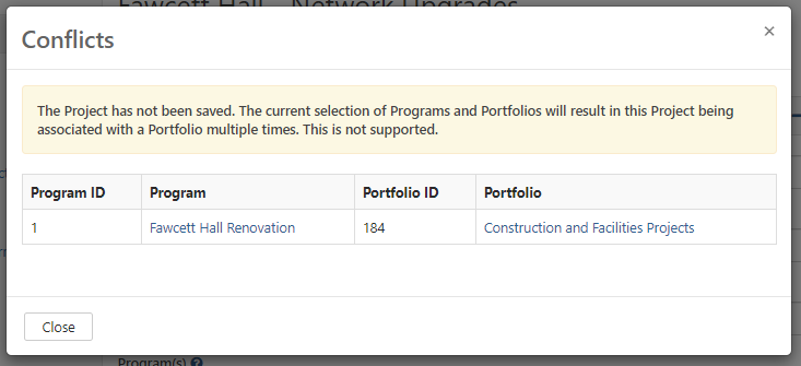 Screenshot showing conflict when editing a Project/Request