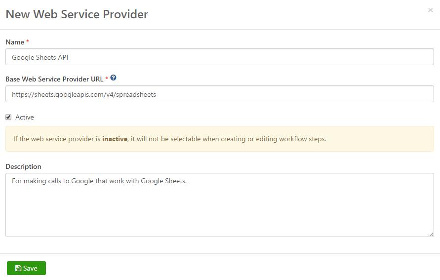 Google Sheets Web Service Provider