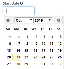 TeamDynamix datepicker with calendar control revealed