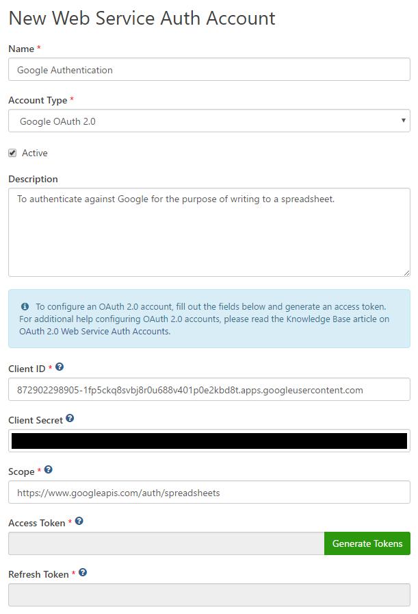 New Google Auth Account