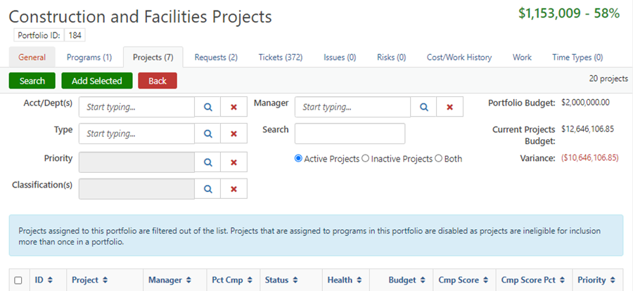 Screenshot showing conflict when adding a Project/Request to a Program