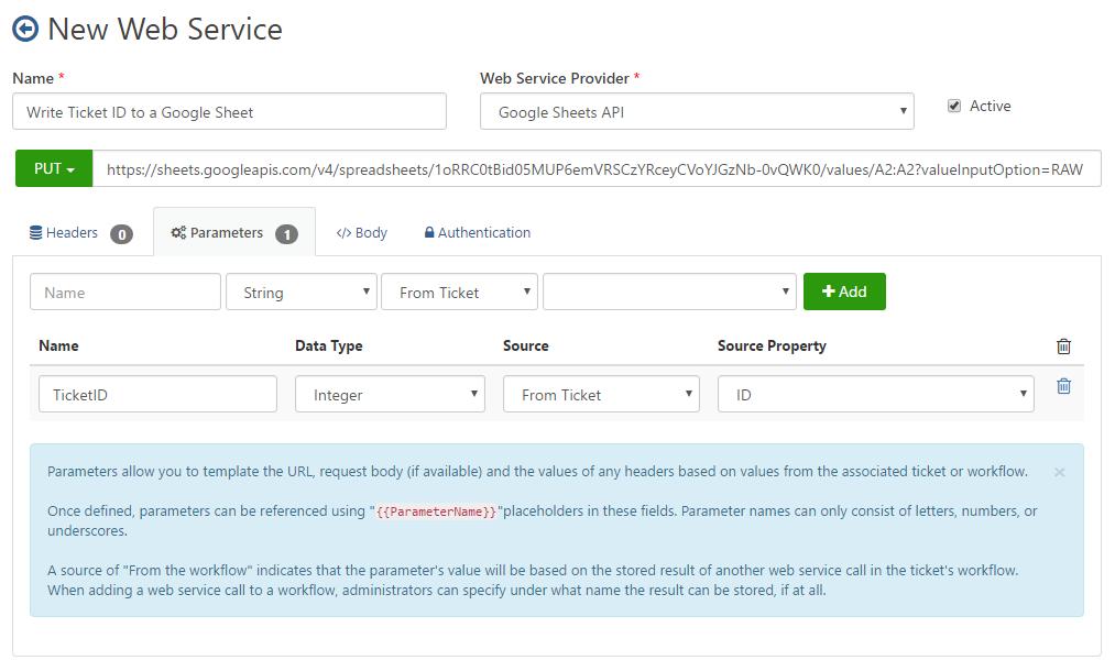 Web Service Parameters