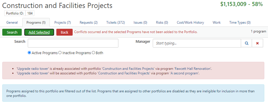 Screenshot showing conflict when adding Program to Portfolio